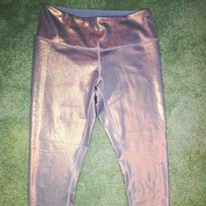 Zella Gray Rose Gold Shimmer Crop Leggings M